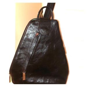 NWOT CLARKS BLACK LEATHER CONVERTIBLE BACKPACK
